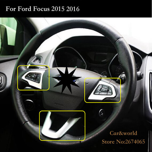 For Ford Focus 3 Steering Wheel Cover Trim Interior Frame Decoration ABS  Chrome Sticker 2015 2016