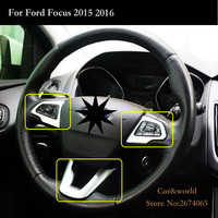 For Ford Focus 3 Steering wheel cover Trim interior frame decoration ABS Chrome Sticker 2015 2016 2017 Car styling Accessories