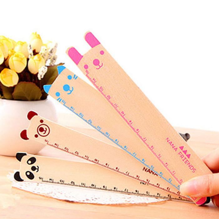 4 Pcs 15cm Cute Lovely Animal Shape Ruler Cute Wood Straight Ruler Gift For Kids School Supplies Stationery