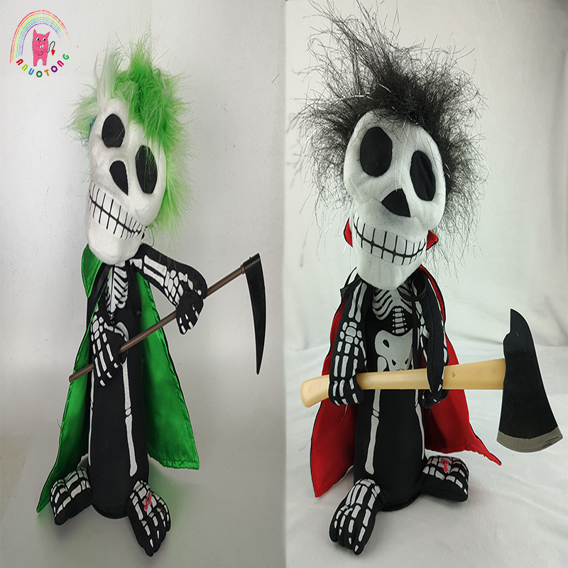 halloween thriller night revolving dancing skull kuso dolls electric plush doll sounding lighting toy birthday gifts - Halloween Lights Thriller