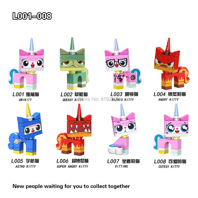 For Legoing Friends Princess Unikitty Movies girls Angry Astro Queasy Biznis Kitty Glasses Building Block Toys Legoings Figures