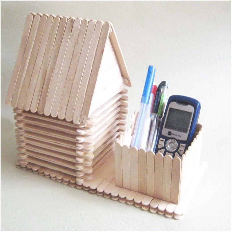 Picture 1 Of 50 Pcs Wooden Popsicle Stick Kids Hand Crafts Art Ice Cream Lolly Cake DIY Making