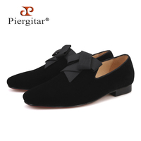 2019 handsome smoking slipper in black silk with a refined velvet band detail Party and Wedding men loafers male dress shoes
