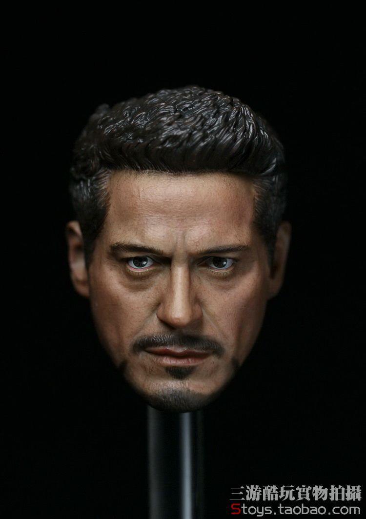 ФОТО 1/6 scale figure doll head.Avengers:Age of Ultron Iron Man Downey head.doll accessories for DIY12