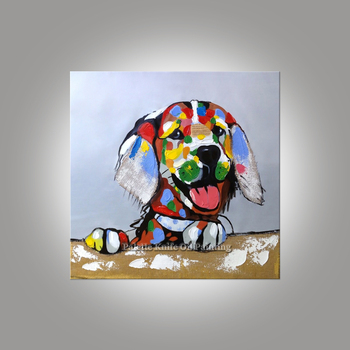 Dog painting On Canvas Wall art Pictures For Living Room home decor Pop art dog modern abstract hand painted animal wall decor04