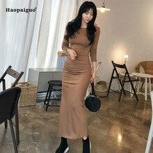 Solid Plus Size Straight Dress 2019 Women Spring Khaki Long Sleeve O-neck Ankle-length Casual Knitted Dress Work Midi Dresses цены