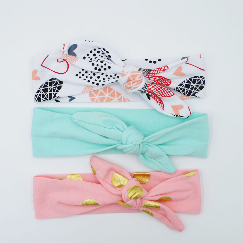 3Pcs/Set Bebe girls Headband DIY one piece Children Tie Knot Turban Kids Headwrap Feather Print Hair Accessories Promotion