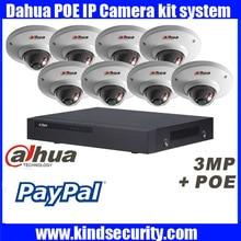 Original English Dahua 8ch waterproof IPC HDW4300C 3MP dome POE onvif IP camera kit with 8POE