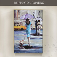 цена на Artist Hand-painted High Quality Impressionist Style Lady with Dog Oil Painting on Canvas Walking in Street Oil Painting
