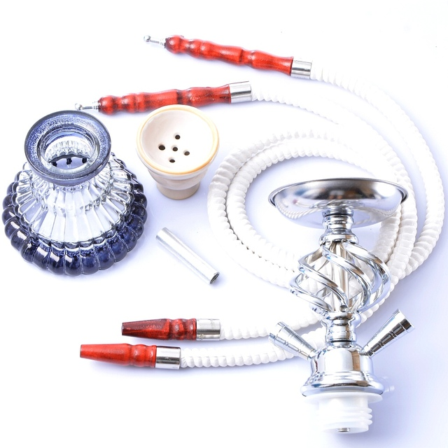 Glass Hookah Set Portable Shisha Pipe with Double Hoses Ceramic Tobacco Flavors Bowl Charcoal Tongs Chicha Narguile Accessories 5
