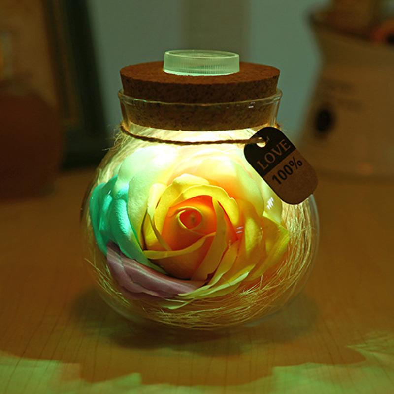 LED RGB Dimmer Lamp Night Light Flower Bottle Romantic Rose Holiday Valentine's Day Gift Girl Women with remote control keyshare dual bulb night vision led light kit for remote control drones
