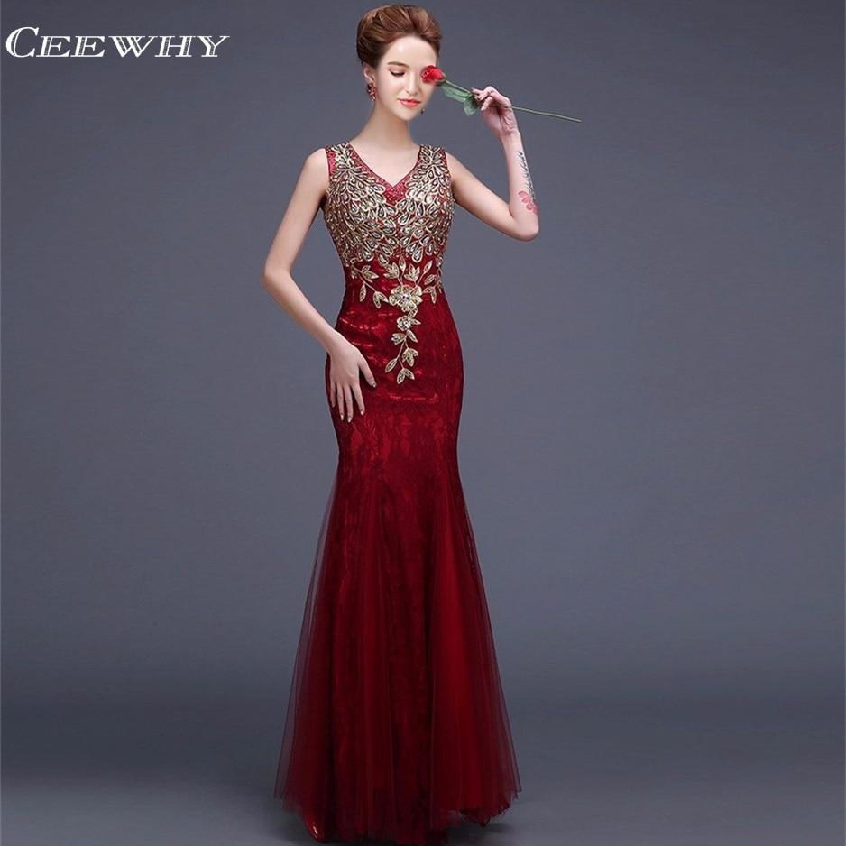 CEEWHY V-Halsbroderi Robe De Soiree Lace Aftonklänningar Lång - Särskilda tillfällen klänningar - Foto 4