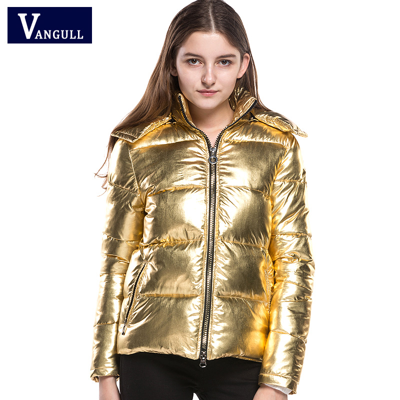 Women Winter Jackets Short warm coat Gold metal color bread style 2017 New ladies parka winterjas