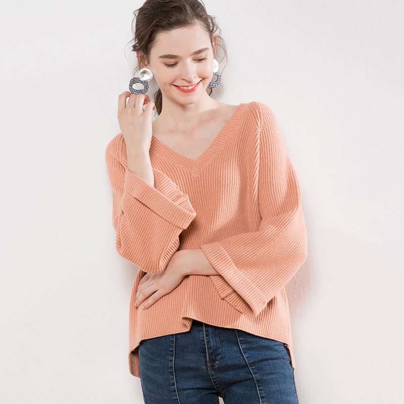 GOPLUS 2019 Winter Fashion Batwing Sleeve knitted Sweater Women Sexy V Neck Sweater Girl Pullover Solid Casual Sweaters Female in Pullovers from Women 39 s Clothing