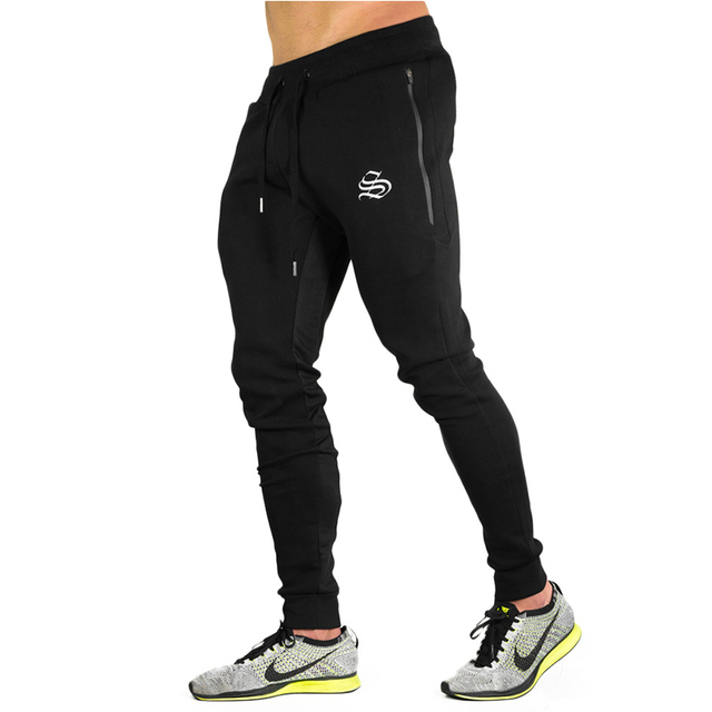 2017 Autumn New Big Zipper Sweatpants Men Solid Workout Bodybuilding Clothing Casual GYMS Fitness Joggers Pants Skinny Trousers