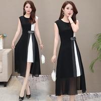 L 5xl Summer Dot Print Chiffon Dress Women Plus Size Sleeveless O neck Dresses Vintage Sexy Office Elegant Party Vestidos Mujer