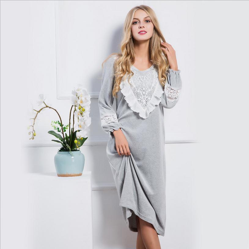 Fashion brand womens winter thicker warm Velvet sleepwear soft cute v-neck lace ruffle hem pants retro long sleep dress w1786