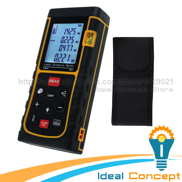 80m Laser Distance Meter Area Volume Pythagorean Measurement Spirit Bubble Level Industrial Tool 80m laser distance meter area volume pythagorean measurement spirit bubble level industrial tool