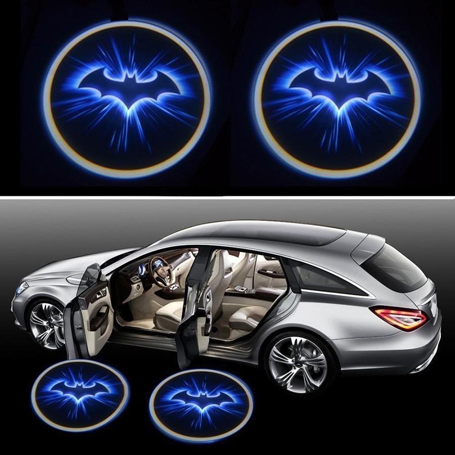 Design car emblem - 2pcs Car Styling Door Welcome Led Light Laser Warning Door Shadow Projector Logo Batman Emblem Wireless