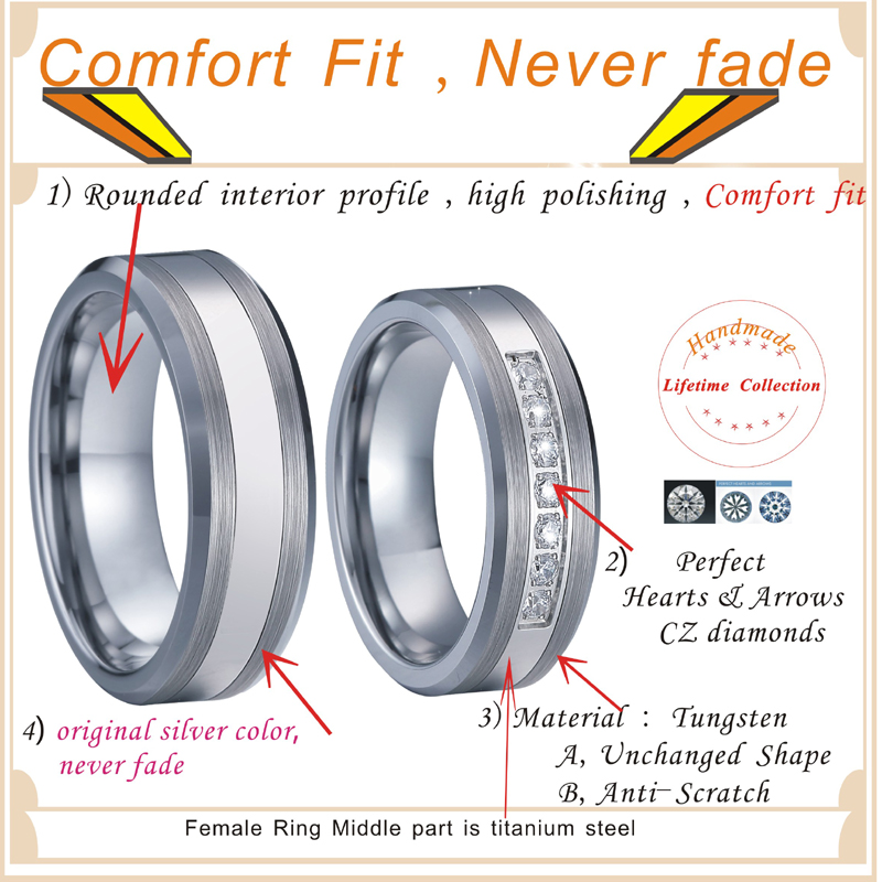Combined Titanium Tungsten Rings Men's Wedding Band silver color bague anel anillos Couple Engagement Rings for women (4)