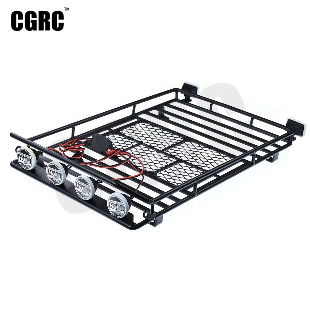 Metal Roof Luggage Rack LED Light For 1/10 RC Crawler Trx4 Bronco Axial Scx10 RC4WD CC01 TF2