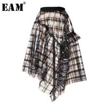 EAM 2019 New Spring High Waist Plaid Asymmetric Length Spliced Ruffles PVC