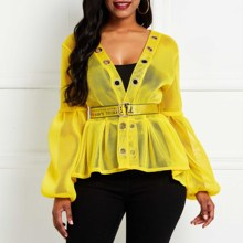 Summer Sexy Club Punk Hip Hop Yellow Plus Size Women Blouses Casual Hipster Chic Lantern Sleeve Lace Up Hollow Female Top Shirts