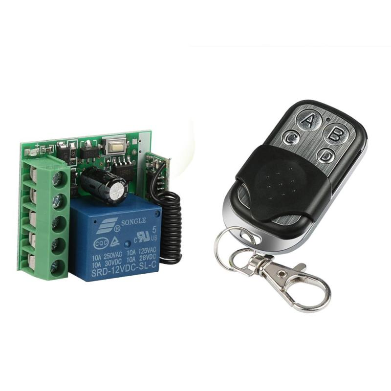 433MHz RF 4 buttons Remote Control push button switch Learning Code 1527 Key Fob Transmitter 1 Channel Relay Receiver Module Z3