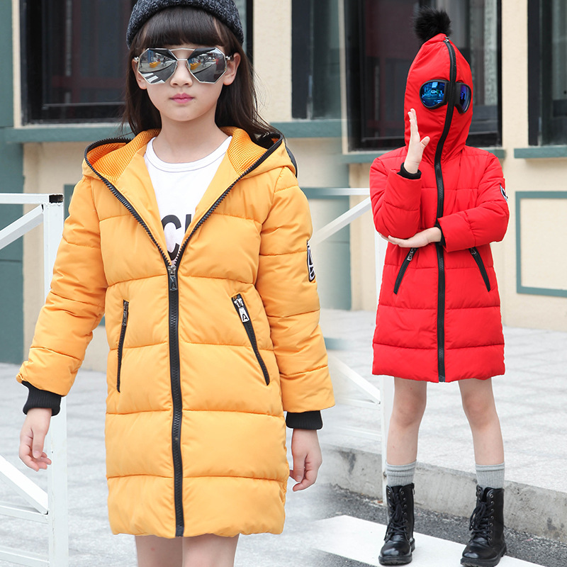 Christmas hooded children coats girl warm jacket for girls autumn winter outerwear and coats clothing for girls red yellow black christmas long hooded jacket girl 90