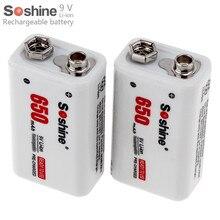 2 шт. Soshine 9 В 650 мАч Высокая емкость литий-ионная аккумуляторная батарея Bateria Baterias + портативный аккумулятор коробка