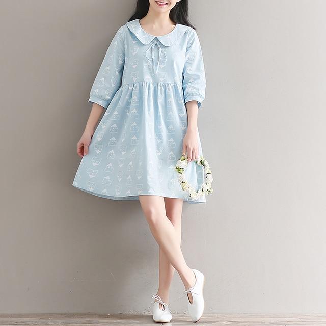 40c592e6aa7f 2017 Summer Printed Cotton Linen Dress Women Preppy Style Light Blue Dresses  Cute Peter Pan Collar A-line Dresses