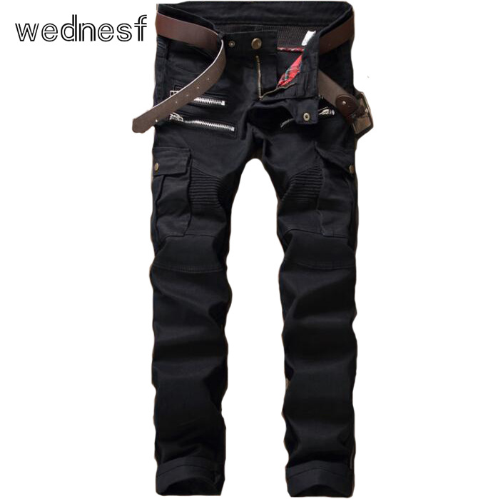 #1922 2017 Hot sell With zipper Pocket Patchwork Slim Mens biker jeans Black ripped jeans men Famous brand Motorcycle jeans