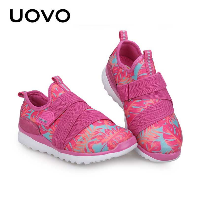 Uovo Brand Printed Casual Shoes Boys Girls Size 25-38 Children Sports Shoes Breathable Running Jogging Shoes Black Pink Zapatos ...