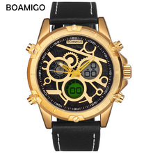 цена на Mens Watches Top Brand Luxury Sport Quartz Dual Display Digital Military Watch Men Fashion Waterproof Wristwatch High Quality