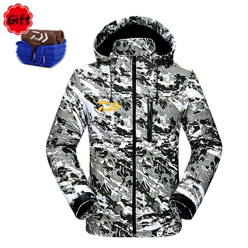 DAYIWA Camouflage pêche vestes en plein air épais chaud Camping randonnée pêche vêtements hommes hiver à capuchon en plein air pêche manteau