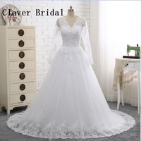 Vestido De Noiva Long Sleeves White Wedding Dress With Lace Sexy V Neck Backless A Line
