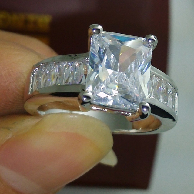 Wholesale Professional Size 6/7/8/9/10 Princess Cut Jewelry   Luxury 10kt white gold filled AAA CZ Diamonque women Ring Choucong