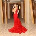 Ruffle Train Myriam Fares Gown Long Red Mermaid Celebrity Dresses