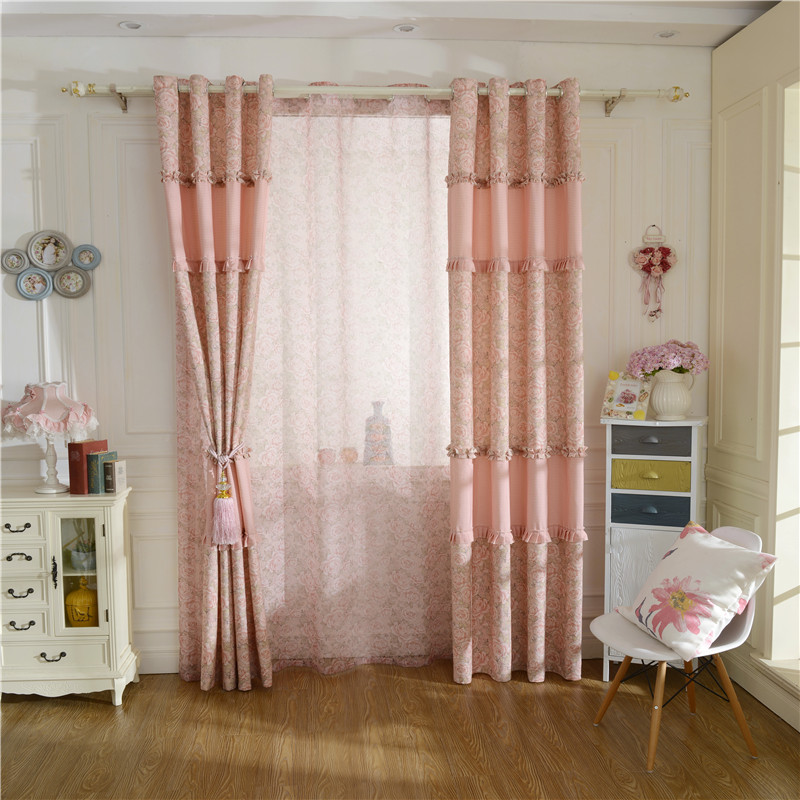 2016 New Flower Garden Pastoral Style Imitation Cotton Window Printing Pink Girl Bedroom Curtain Finished Wholesale