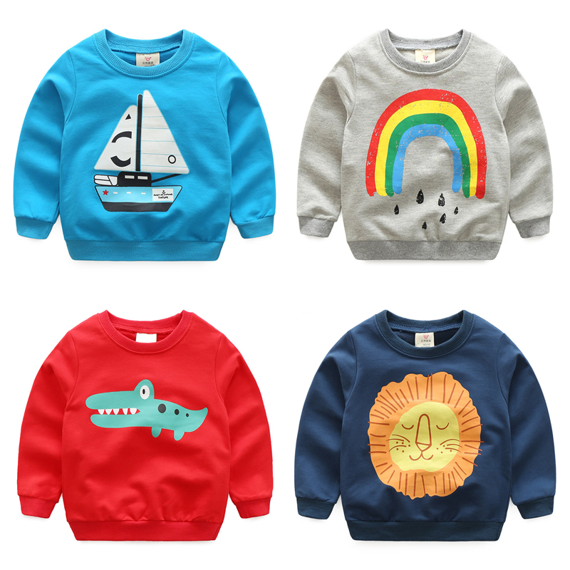 2018 Spring Male Children S Clothing Casual Long Sleeve Top Pullover Baby Boy Animal Print Sweatshirt