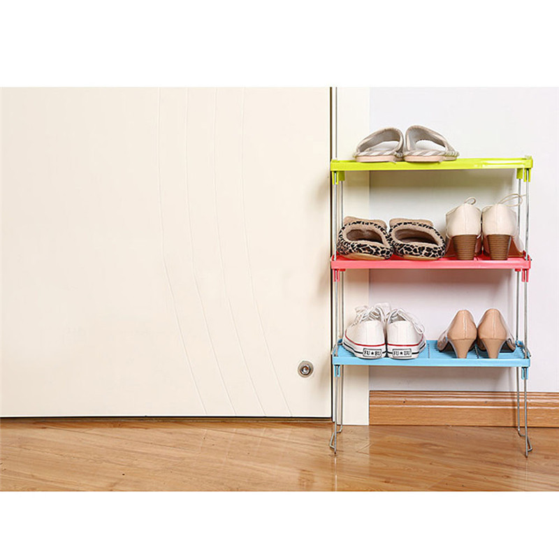 Foldable Shelf Kitchen Cabinet Storage Stackable Cupboard Rack Organizer Home Shoe Rack Shelf Storage estante ba o #SS