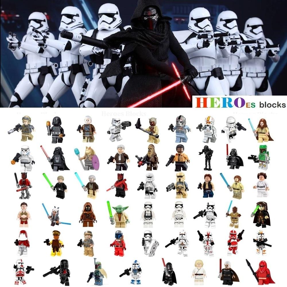 Single Star Wars Stormtrooper Darth Vader Han Solo Building Blocks Jedi Yoda Obi Wan Figure Brick Toy kid gift Compatible Legoed(China)