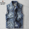 2016 New Casual Denim Vest Mens Fashion Zipper Cotton Slim Denim Jacket Sleeveless Teenager Retro Slim Jeans Coat A1413