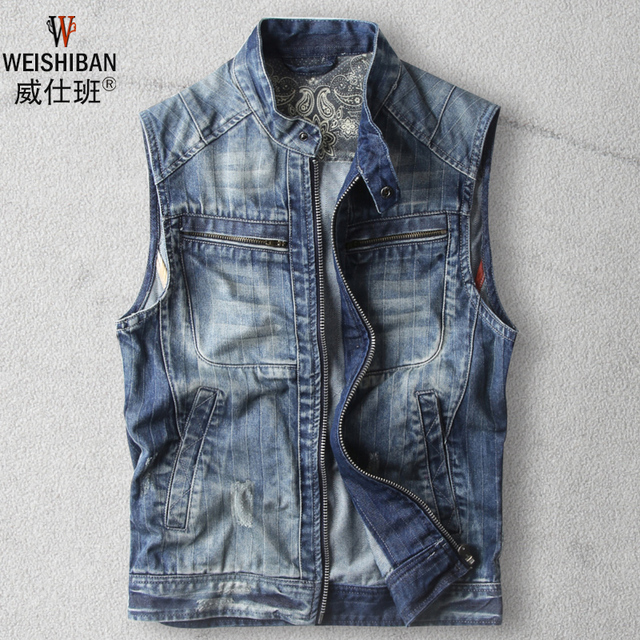 8f65d9fba37 2016 New Casual Denim Vest Mens Fashion Zipper Cotton Slim Denim Jacket  Sleeveless Teenager Retro Slim