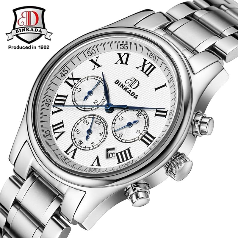 все цены на Men Mechanical Watch Top Luxury Brand Automatic Watches BINKADA Steel Band Watch Multifunction Waterproof Relogio Masculino