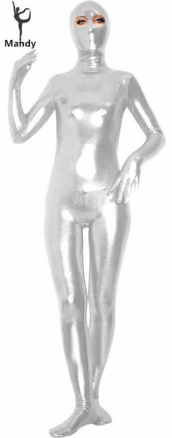 Fancy Dress Metallic Gold Full Body Zentai Spandex Lycra Catsuit Black Eyes