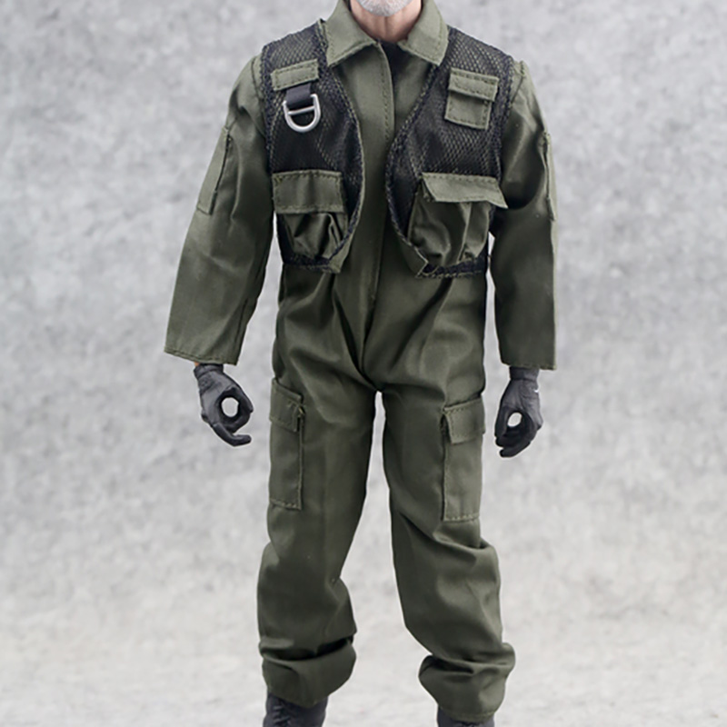 Jumpsuit Soldier Overall-Pilot Green-Uniform Army Military Clothing-Accessories Action-Figure-Toy