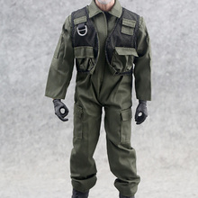Veyron 1/6 Scale Military Clothing Accessories F14/F15 Soldier Army Green Uniform Overall Pilot Jumpsuit  F 12Action Figure Toy