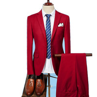 Business Affairs Leisure Twinset Suit Male Korean Solid Color Full Correct Dress Foreign Trade Groom Man's Suit Male Suit