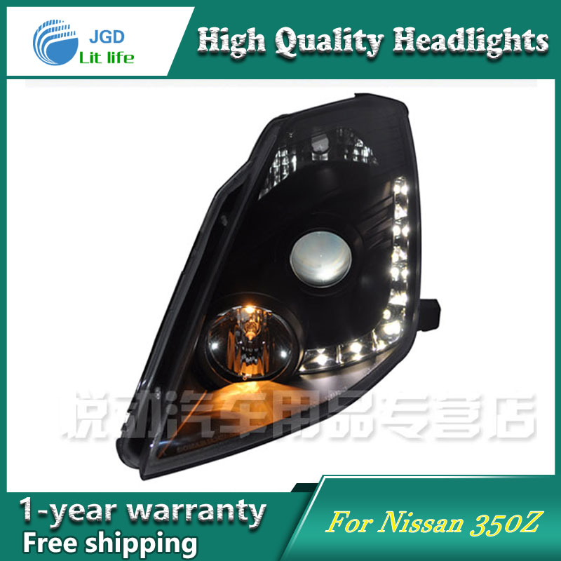 high quality Car styling case for Nissan 350Z 2003-2008 Headlights LED Headlight DRL Lens Double Beam HID Xenon hireno headlamp for 2013 2015 nissan tiida headlight assembly led drl angel lens double beam hid xenon 2pcs